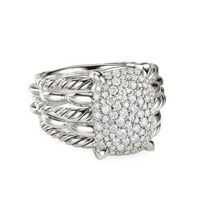 David Yurman 16x20 Tides Pave Diamond ring 7.75